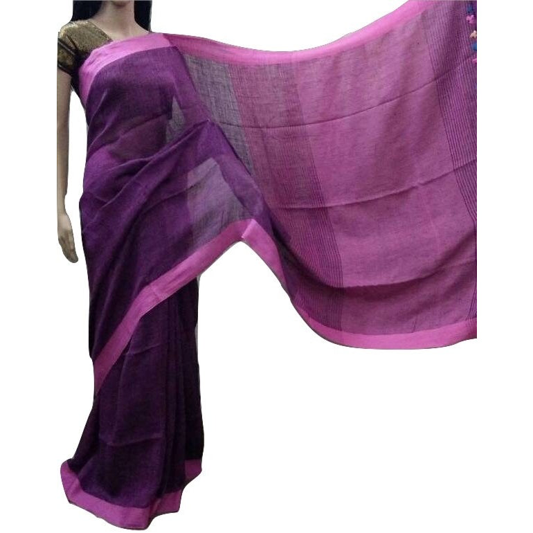 Magenta with Purple Shade Linen Cotton Saree - Indianloom