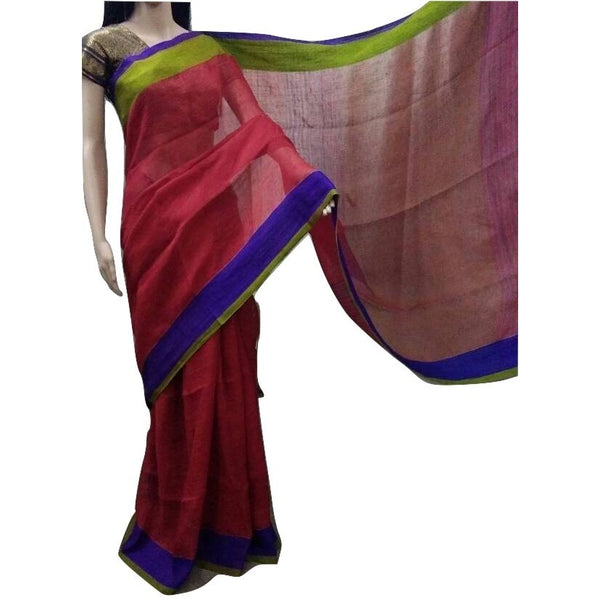 Tomato Red Linen Cotton Saree with Royal Blue & Olive Green Border