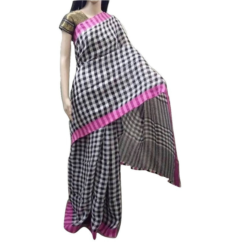 Black & White Chequered Linen Cotton Saree with Pink Border - Indianloom
