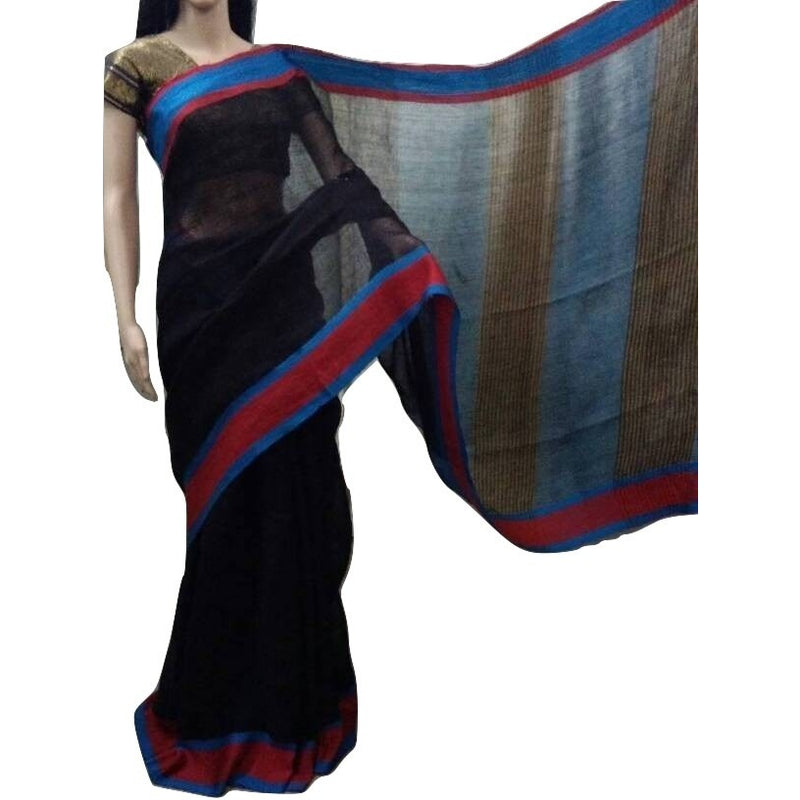 Black Linen Cotton Saree with Blue & Red Border - Indianloom