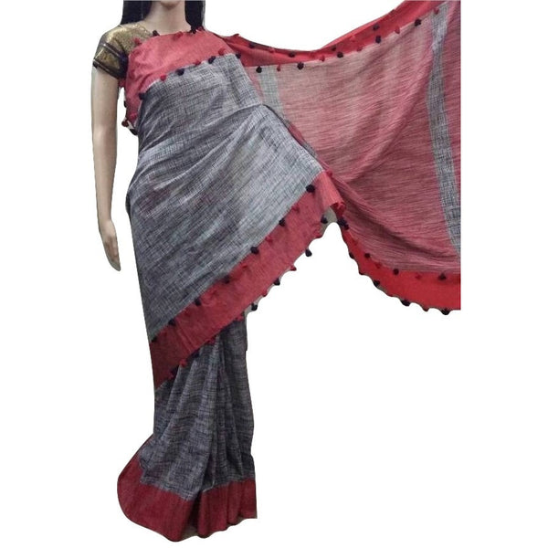 Grey Linen Cotton Saree with Red Border & Pom Poms - Indianloom