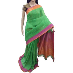 Mint Green Linen Cotton Saree with Pink & Rust Border - Indianloom