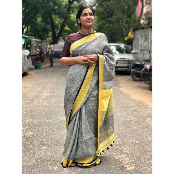 Grey Linen Cotton Saree with Yellow & Black Border - Indianloom