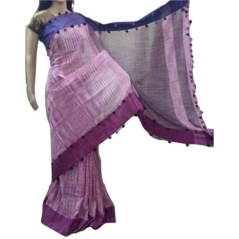 Purple Linen Cotton Saree with Royal Blue & Magenta Border & Pom Poms - Indianloom