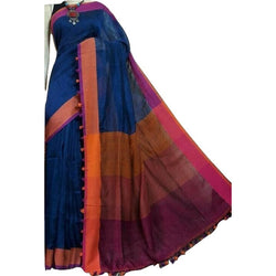 Royal Blue Linen Cotton Saree with Pink Border & Pom Poms