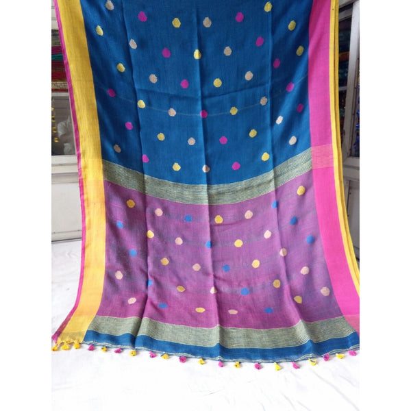 Peacock Blue Linen Cotton Saree with Magenta Pallu & Multicolor Booty - Indianloom