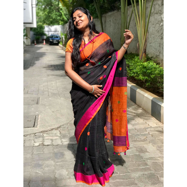 Black Linen Cotton Saree with Orange Pallu & Multicolor Booty - Indianloom