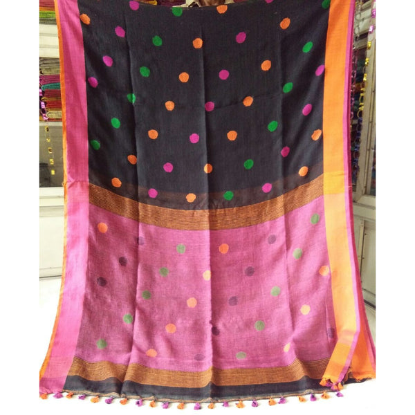 Brown Linen Cotton Saree with Pink Pallu & Multicolor Booty - Indianloom