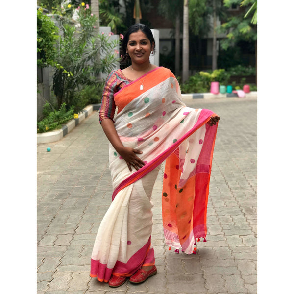 White Linen Cotton Saree with Orange Pallu & Multicolor Booty