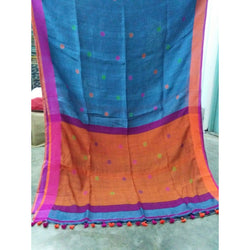 Ferosa Linen Cotton Saree with Orange Pallu & Multicolor Booty - Indianloom