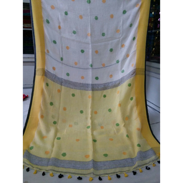 White Linen Cotton Saree with Cream Yellow Pallu & Multicolor Booty