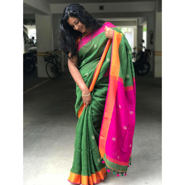 Sea Green Linen Cotton Saree with Pink Pallu & Multicolor Booty