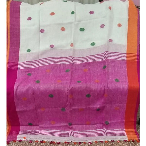 White Linen Cotton Saree with Orange & Pink Pallu with Multicolor Booty