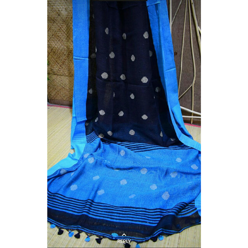 Black Linen Cotton Saree with Blue Pallu & Golden Booty - Indianloom
