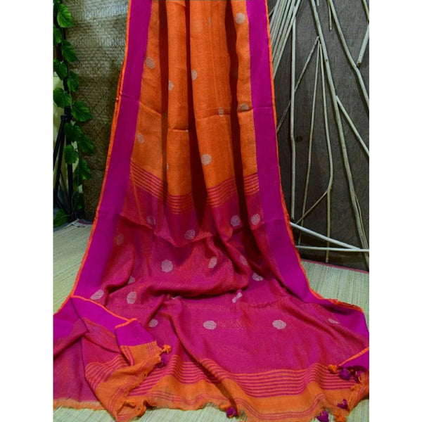 Orange Linen Cotton Saree with Pink Pallu & Golden Booty - Indianloom