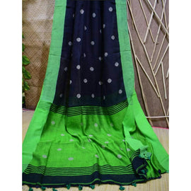 Black Linen Cotton Saree with Green Pallu & Golden Booty - Indianloom