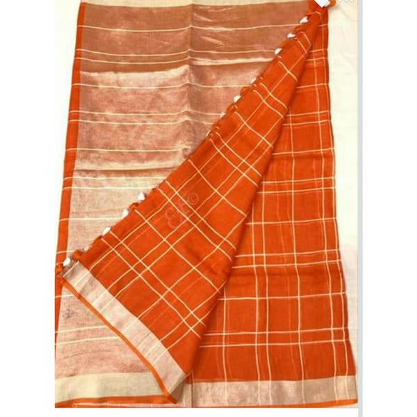 Orange Linen Cotton Saree With Checks & Zari - Indianloom