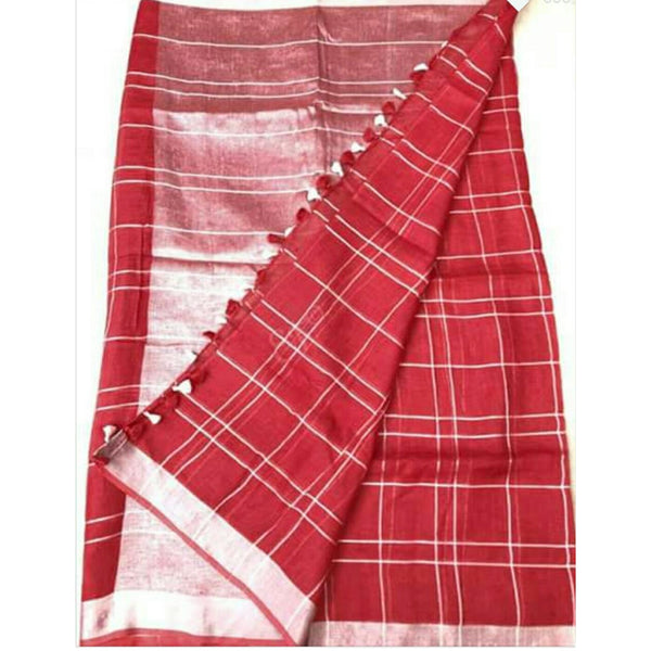 Red Linen Cotton Saree With Checks & Zari - Indianloom