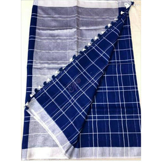 Royal Blue Linen Cotton Saree With Checks & Zari