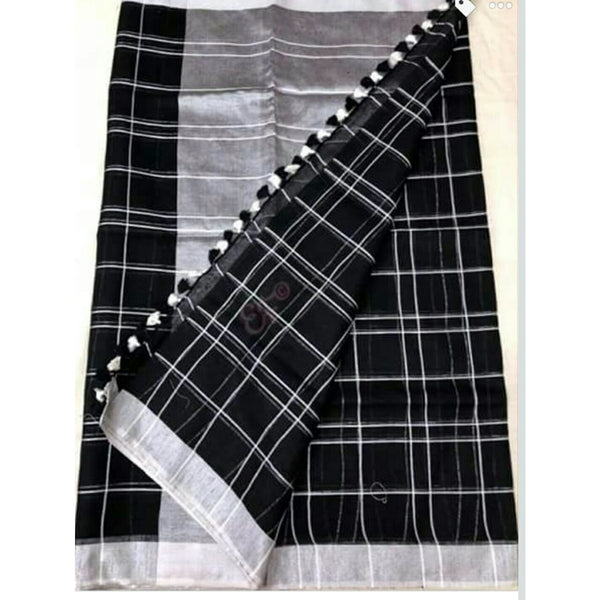 Black Linen Cotton Saree With Checks & Zari - Indianloom
