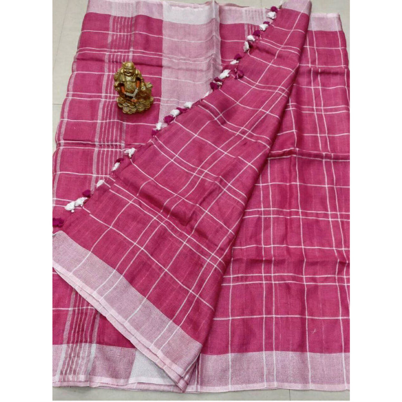 Pink Linen Cotton Saree With Checks & Zari - Indianloom