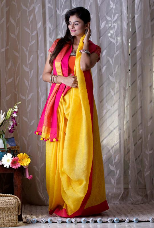 Yellow Zari Linen Saree