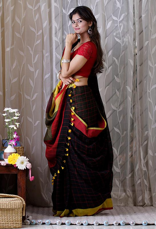 Black Zari Linen Saree - Indianloom