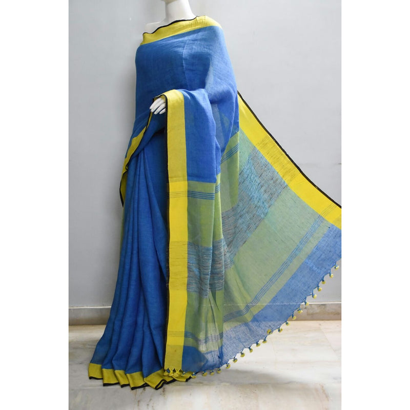 Blue Linen Saree - Indianloom