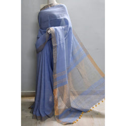 Light Blue Linen Saree with Zari - Indianloom