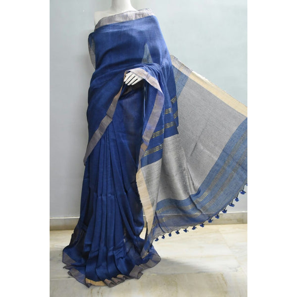 Blue Linen Saree with Zari - Indianloom