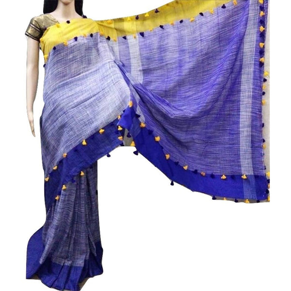 Royal Blue Linen Cotton Saree with Royal Blue & Yellow Border & Pom Poms