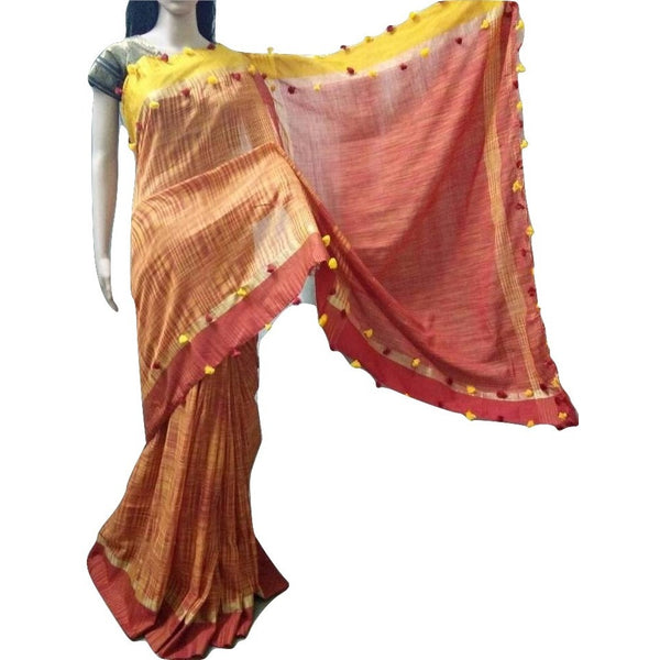 Mustard Yellow & Red Linen Cotton Saree with Red & Yellow Border & Pom Poms - Indianloom