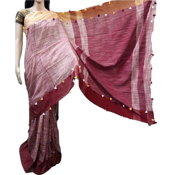 Maroon Linen Cotton Saree with Nazi Red & Maroon Border & Pom Poms - Indianloom