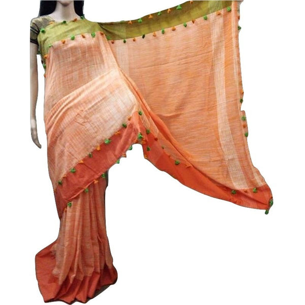 Orange Linen Cotton Saree with Orange & Olive Border & Pom Poms - Indianloom