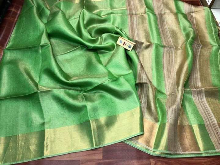 Linen Tussar Tissue Silk Saree - Indianloom