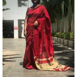 Maroon Handloom Silk by Noil Saree with Gicha Work Pallu - Indianloom