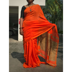 Orange Handloom Silk by Noil Saree with Gicha Work Pallu - Indianloom