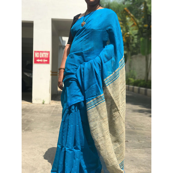 Blue Handloom Silk by Noil Saree with Gicha Work Pallu - Indianloom