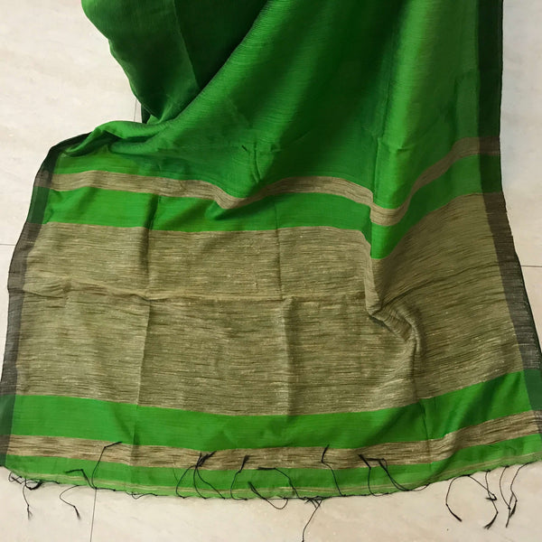 Green Handloom Silk by Noil Saree with Gicha Work Pallu - Indianloom