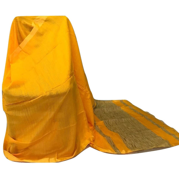 Yellow Handloom Silk by Noil Saree with Gicha Work Pallu