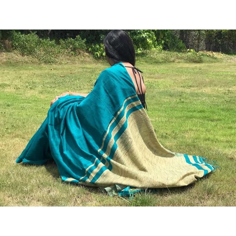 Peacock Blue Handloom Silk by Noil Saree with Gicha Work Pallu - Indianloom