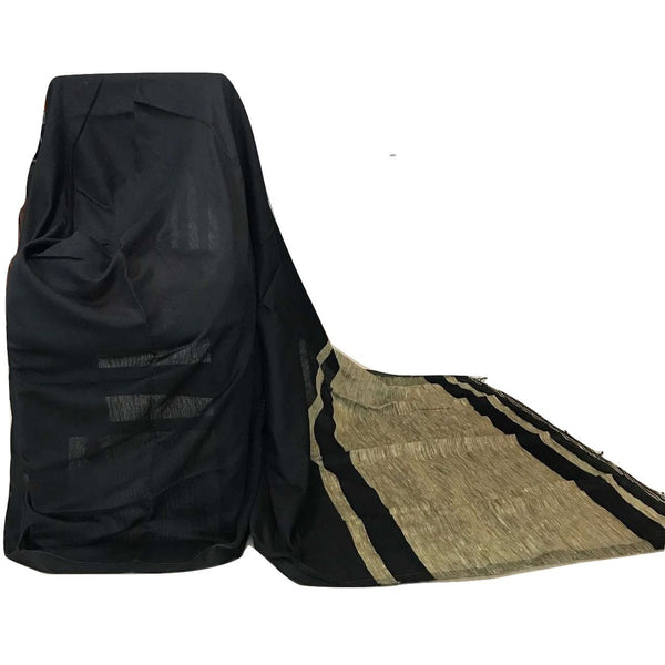 Black Handloom Silk by Noil Saree with Gicha Work Pallu - Indianloom
