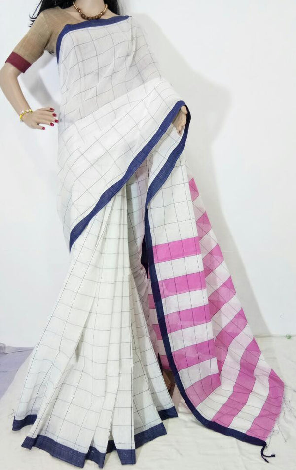 Off White Silk by Cotton Saree - Indianloom