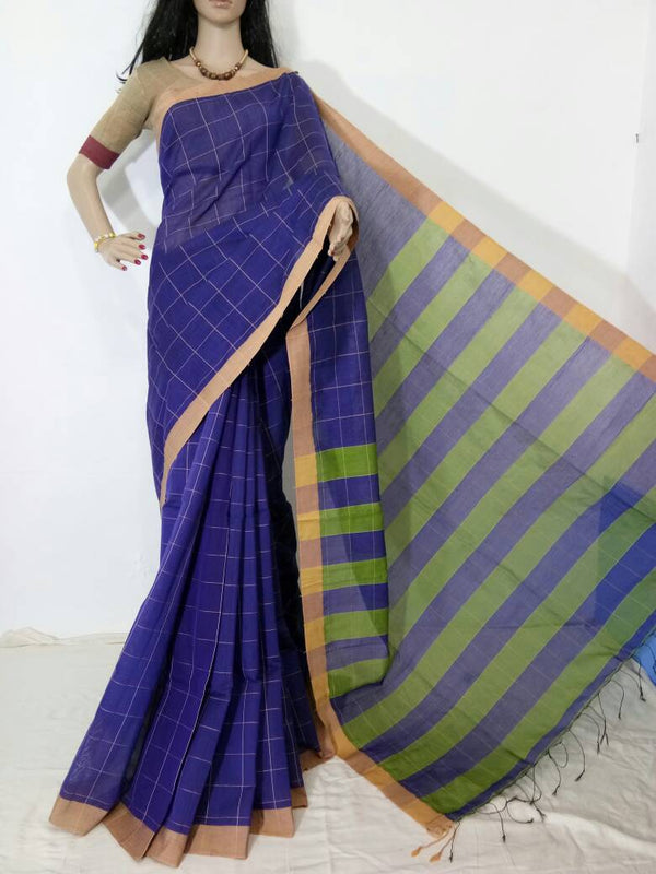 Blue Silk by Cotton Saree - Indianloom