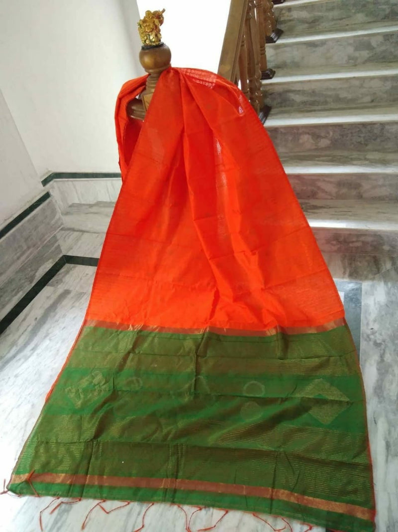 Orange Silk by Cotton Saree with Zari Work Jamdani - Indianloom