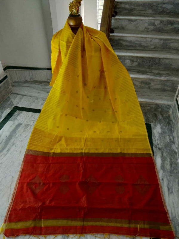 Yellow Silk by Cotton Saree with Zari Work Jamdani