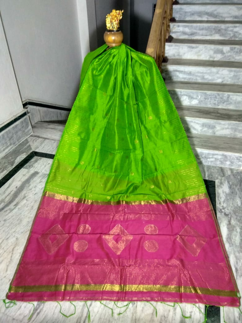 Green Silk by Cotton Saree with Zari Work Jamdani - Indianloom