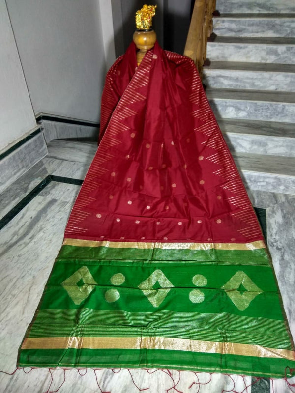 Red Silk by Cotton Saree with Zari Work Jamdani