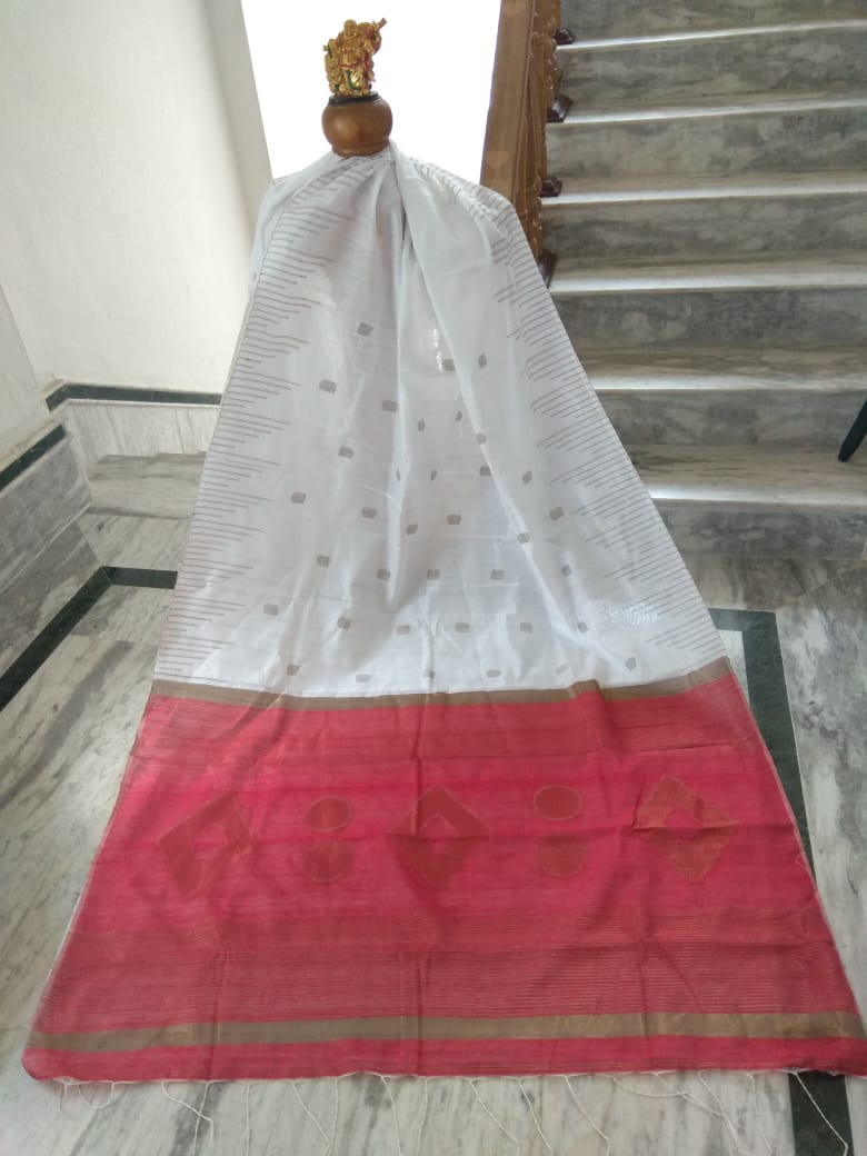 Off White Silk by Cotton Saree with Zari Work Jamdani - Indianloom