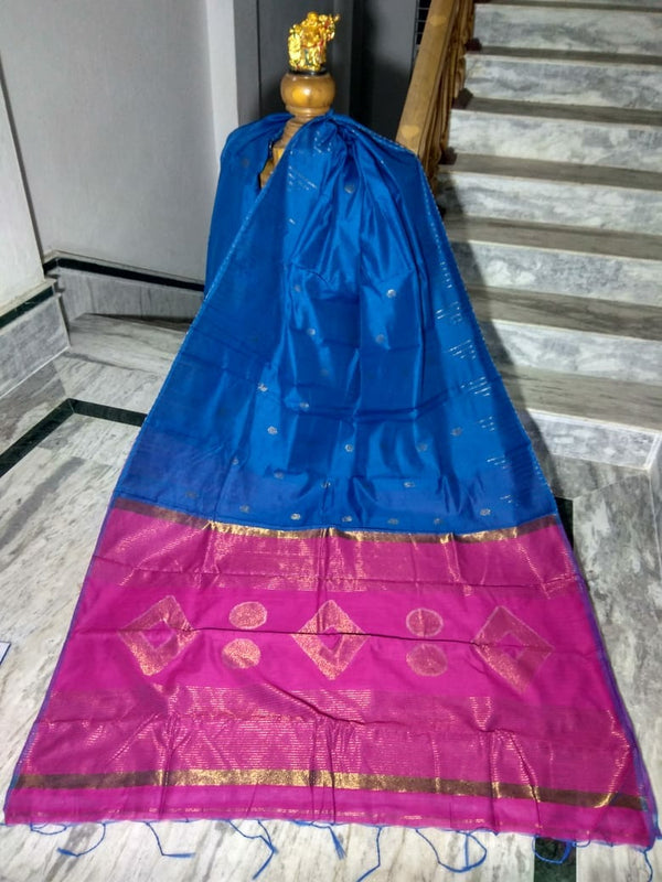 Blue Silk by Cotton Saree with Zari Work Jamdani - Indianloom